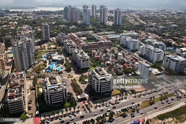 aerial view of barra da tijuca - バーラ地区 ストックフォトと画像