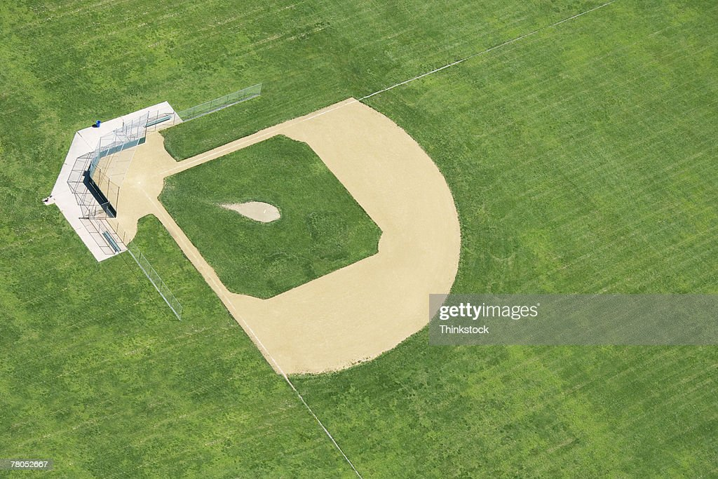 Aerial view of baseball field : Stock Photo