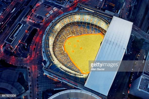Aerial view of baseball game at Rogers Centre, Toronto
