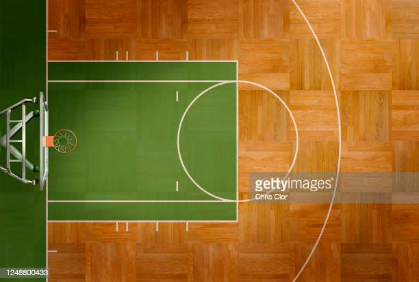 aerial view of basketball court - sports court stock pictures, royalty-free photos & images