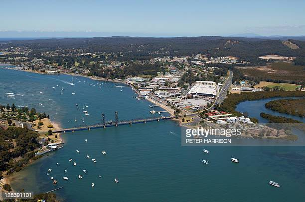 aerial view of batemans bay, nsw, australia - batemans bay stock pictures, royalty-free photos & images