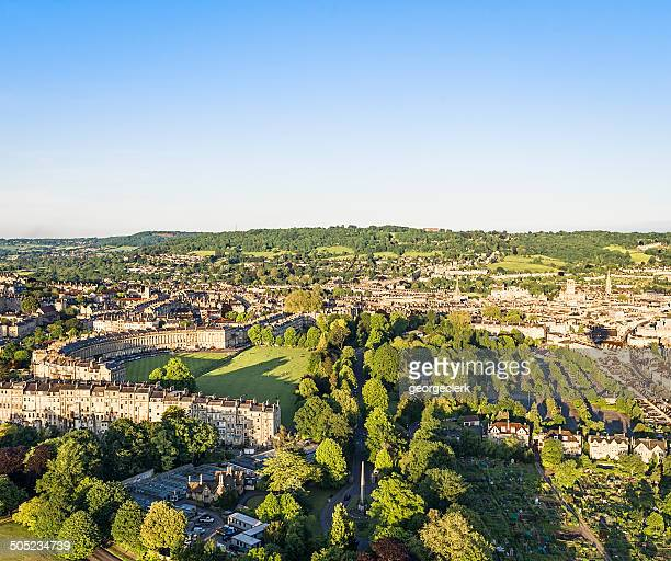aerial view of bath, england - somerset england stock pictures, royalty-free photos & images
