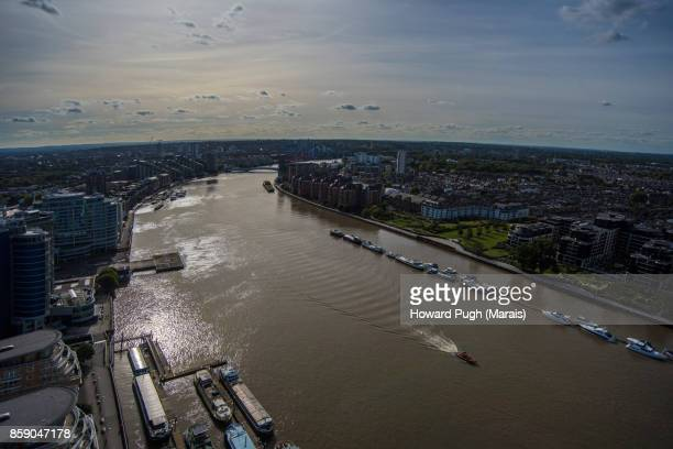 Aerial view of Battersea & Chelsea. Helicopter Zone