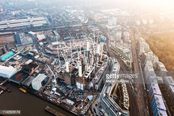 aerial view of battersea construction site, london, uk - battersea stock pictures, royalty-free photos & images