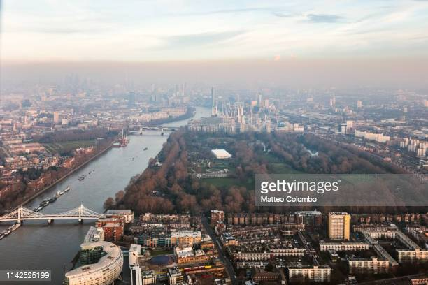 aerial view of battersea park at sunset, london, uk - battersea park stock pictures, royalty-free photos & images