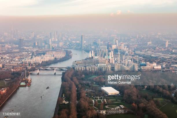 aerial view of battersea power station at sunset, london, uk - battersea park stock pictures, royalty-free photos & images