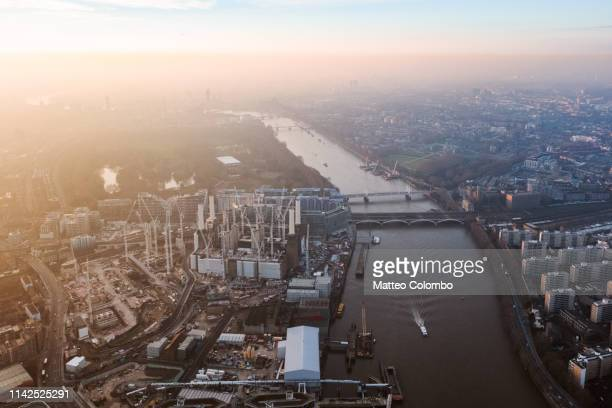 aerial view of battersea power station, london, uk - battersea park stock pictures, royalty-free photos & images