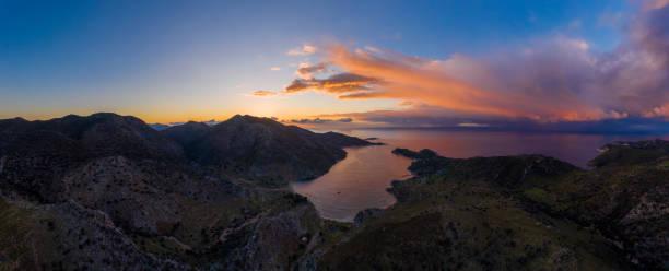 Aerial view of bay Bozukkale at sunrise, Turkey. Rocky coast of the Aegean sea