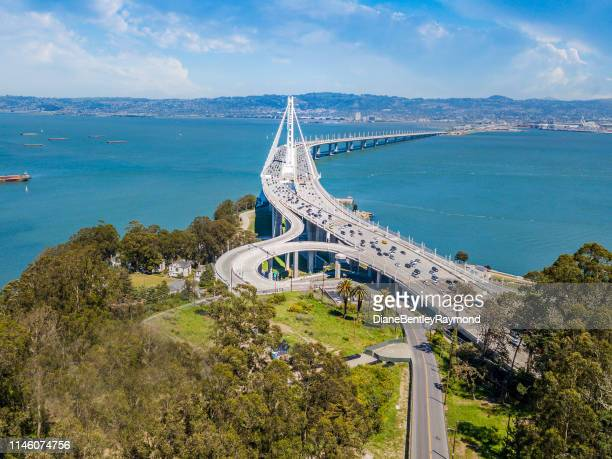 aerial view of bay bridge - california stock pictures, royalty-free photos & images