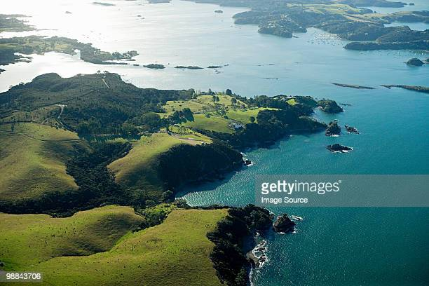 aerial view of bay of islands near kerikeri - northland new zealand stock pictures, royalty-free photos & images