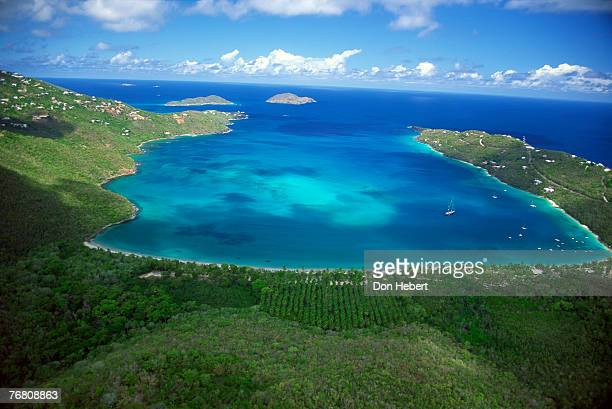 aerial view of bay - magens bay stock photos and pictures