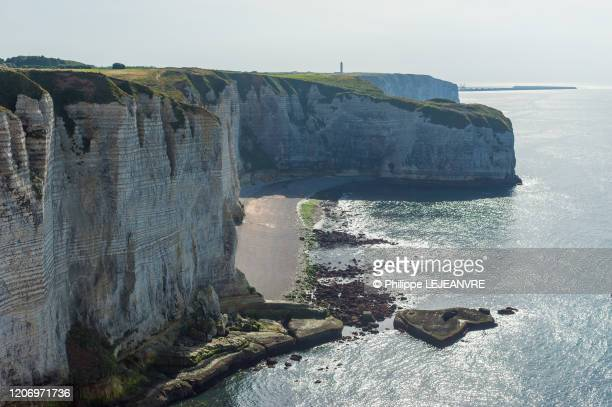 Limestone Cliffs Of Normandy And Etretat Stock Pictures Royalty
