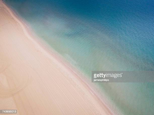 Aerial view of beach and ocean, Port Melbourne, Victoria, Australia