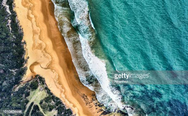aerial view of beach and ocean. victoria, australia - coastline stock photos and pictures