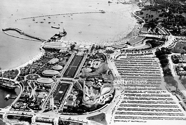 Aerial view of beach at Playland in Rye NY