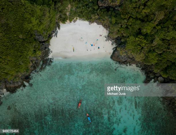 Aerial view of beach boats trees cliffs