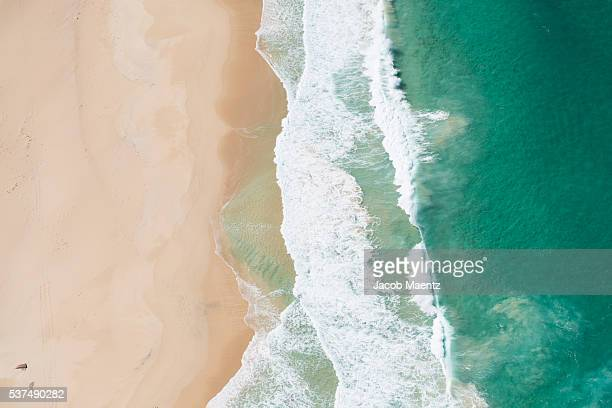Aerial view of beach coastline, Australia.