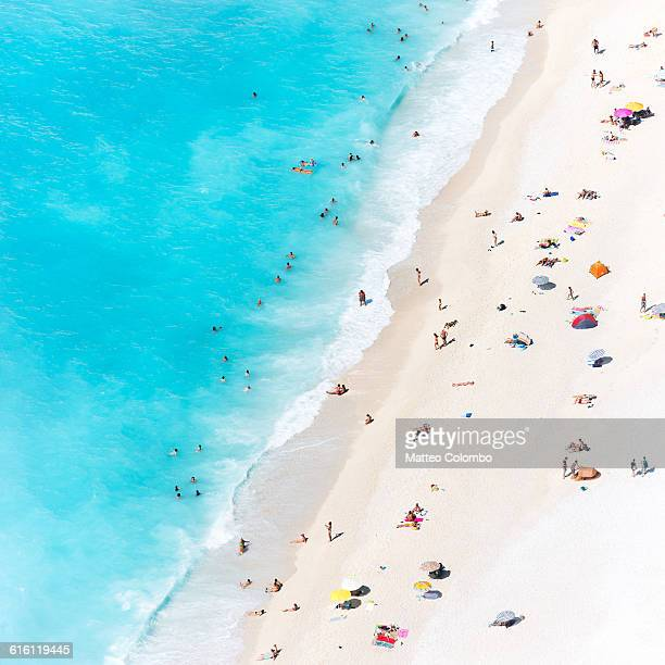 Aerial view of beach crowded with tourists, Greece