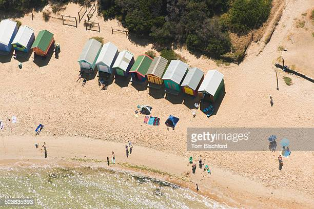 Aerial view of beach huts and holiday makers, Port Melbourne, Victoria, Australia