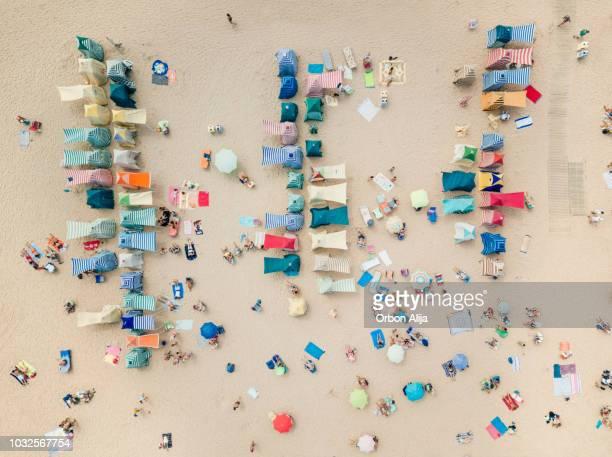 ヒホンのビーチ小屋の航空写真 - ヒホン ストックフォトと画像