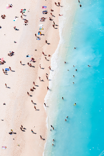 Aerial view of beach in summer with people. Zakynthos, Greek Islands, Greece - gettyimageskorea