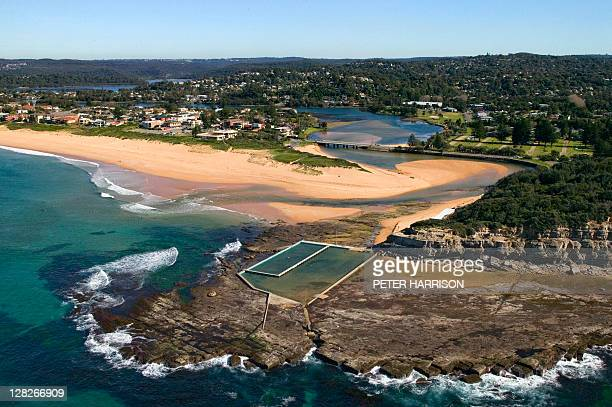 Aerial view of beach, Narrabeen, New South Wales, Australia