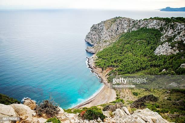 Aerial view of beach near Alcudia, Mallorca, Spain