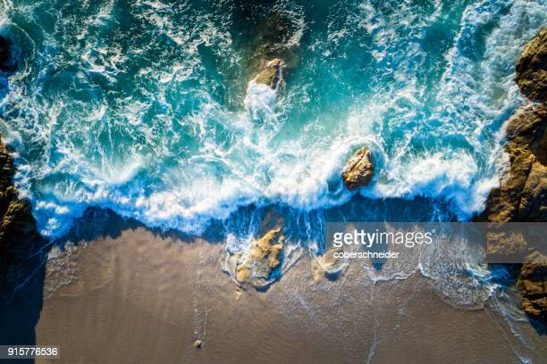aerial view of beach near lumio, corsica, france - mediterranean sea stock pictures, royalty-free photos & images