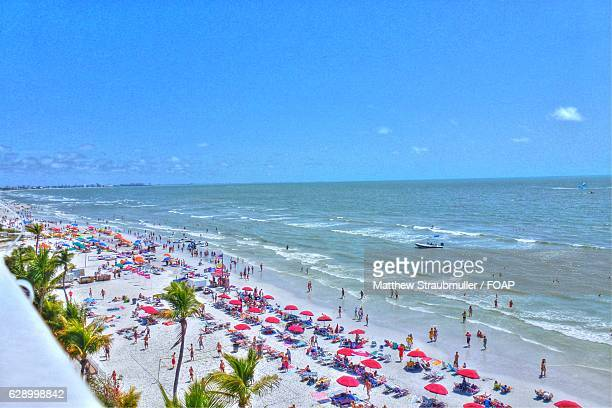 aerial view of beach - fort myers beach stock pictures, royalty-free photos & images