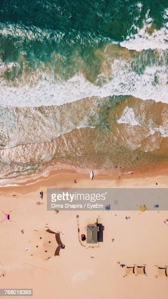 aerial view of beach - tel aviv stock pictures, royalty-free photos & images