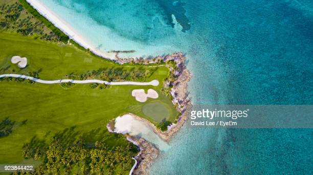 aerial view of beach - nassau stock photos and pictures