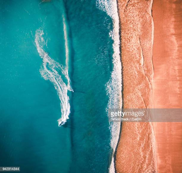 aerial view of beach - kalifornien stock-fotos und bilder
