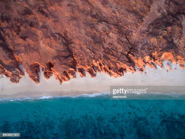 aerial view of beach, western australia, australia - rock formation stock photos and pictures