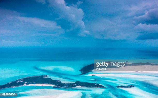Aerial view of beaches and sand bars and beaches in the Bahamas.