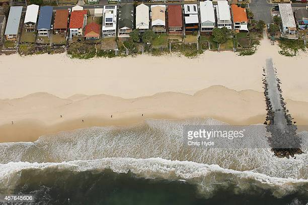 Aerial view of beachfront houses showing erosion on the coastline on October 22 2014 on the Gold Coast Australia