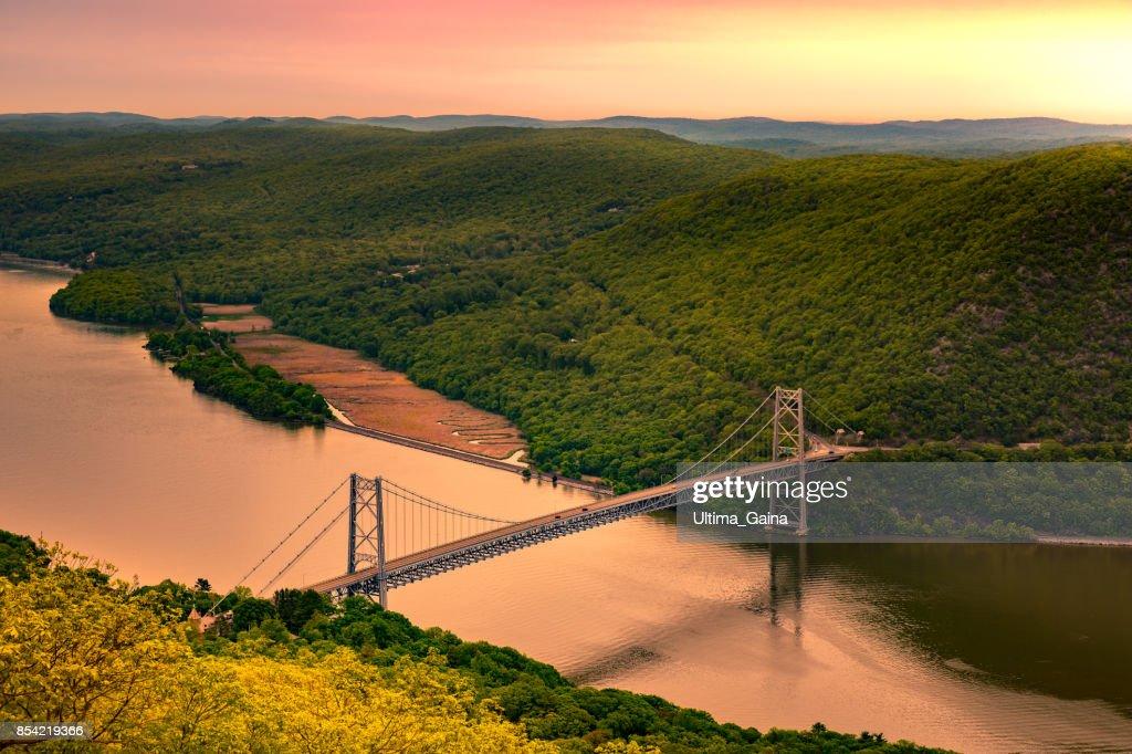 Aerial view of Bear Mountain Bridge at sunrise. : Stock Photo
