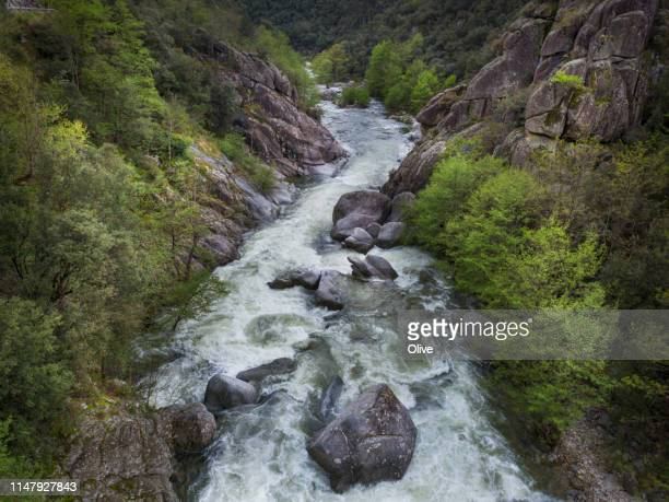 aerial view of beaume river at spring time , ardèche, south of france - cevennes photos et images de collection