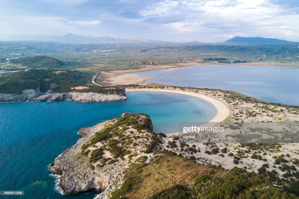 Aerial view of beautiful landscape on sunset : Stock Photo