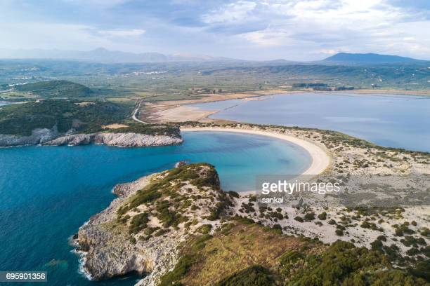 aerial view of beautiful landscape on sunset - peloponnese stock photos and pictures