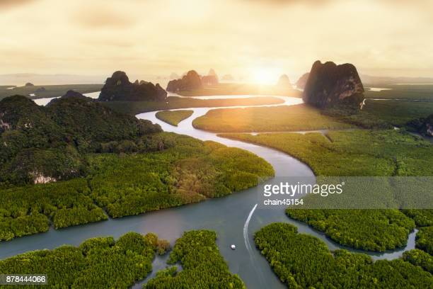 Aerial view of beautiful nature landscape of curve of river and beach with hill and mountain at Krabi, South of Thailand. Travel destination concept.