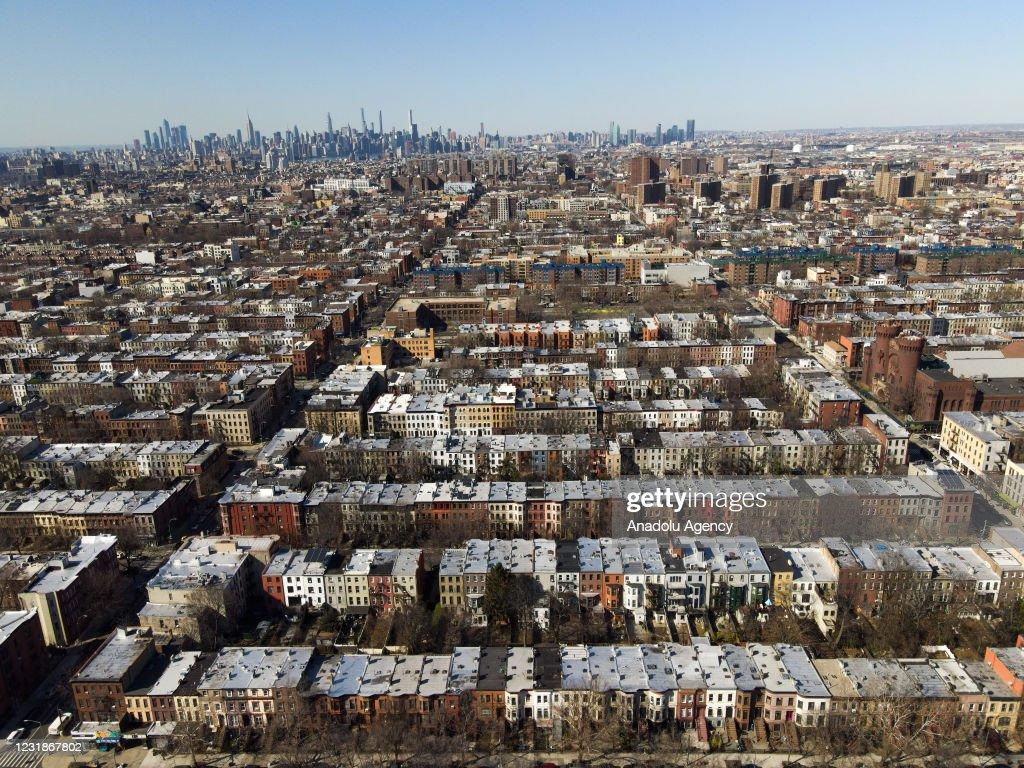 Aerial views of a neighborhood in Brooklyn : News Photo