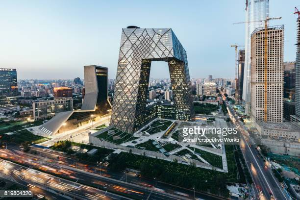 Aerial view of Beijing CBD area and CCTV Headquarters at Dusk / Beijing, China