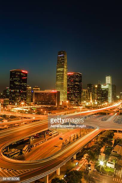 Aerial view of Beijing CBD area at Night