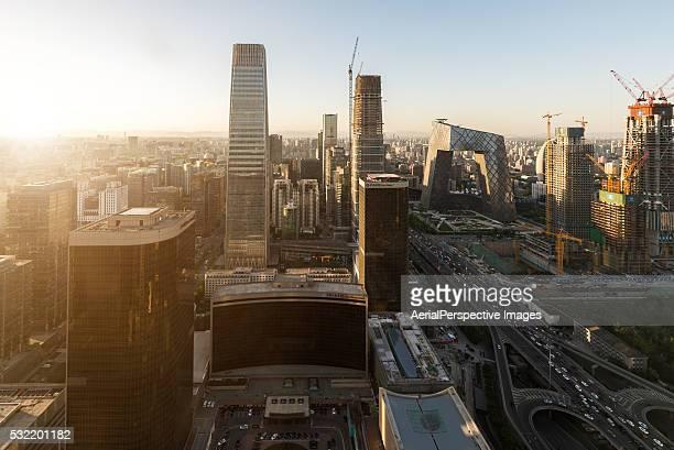Aerial view of Beijing CBD area in Sunlight