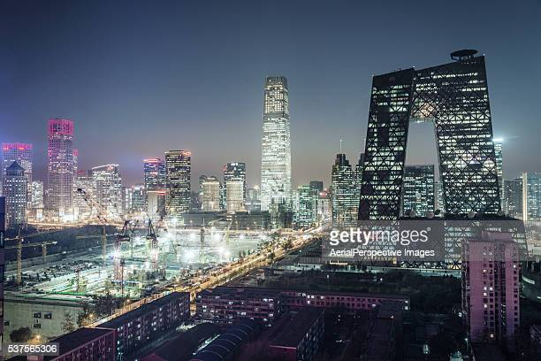 Aerial view of Beijing CBD at Night