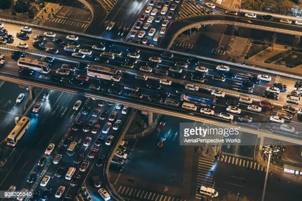 Vue aérienne de Pékin bondés de trafic
