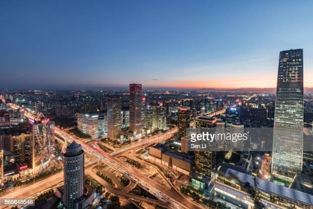aerial view of beijing downtown - xiamen fotografías e imágenes de stock