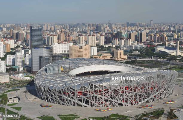 Aerial view of Beijing National Stadium also known as the Bird's Nest on July 22 2008 in Beijing China