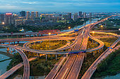 Aerial View of Beijing overpass at Night