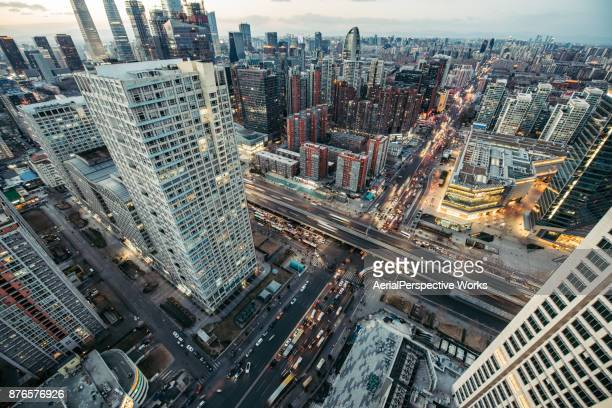Aerial View of Beijing Skyline at Dusk